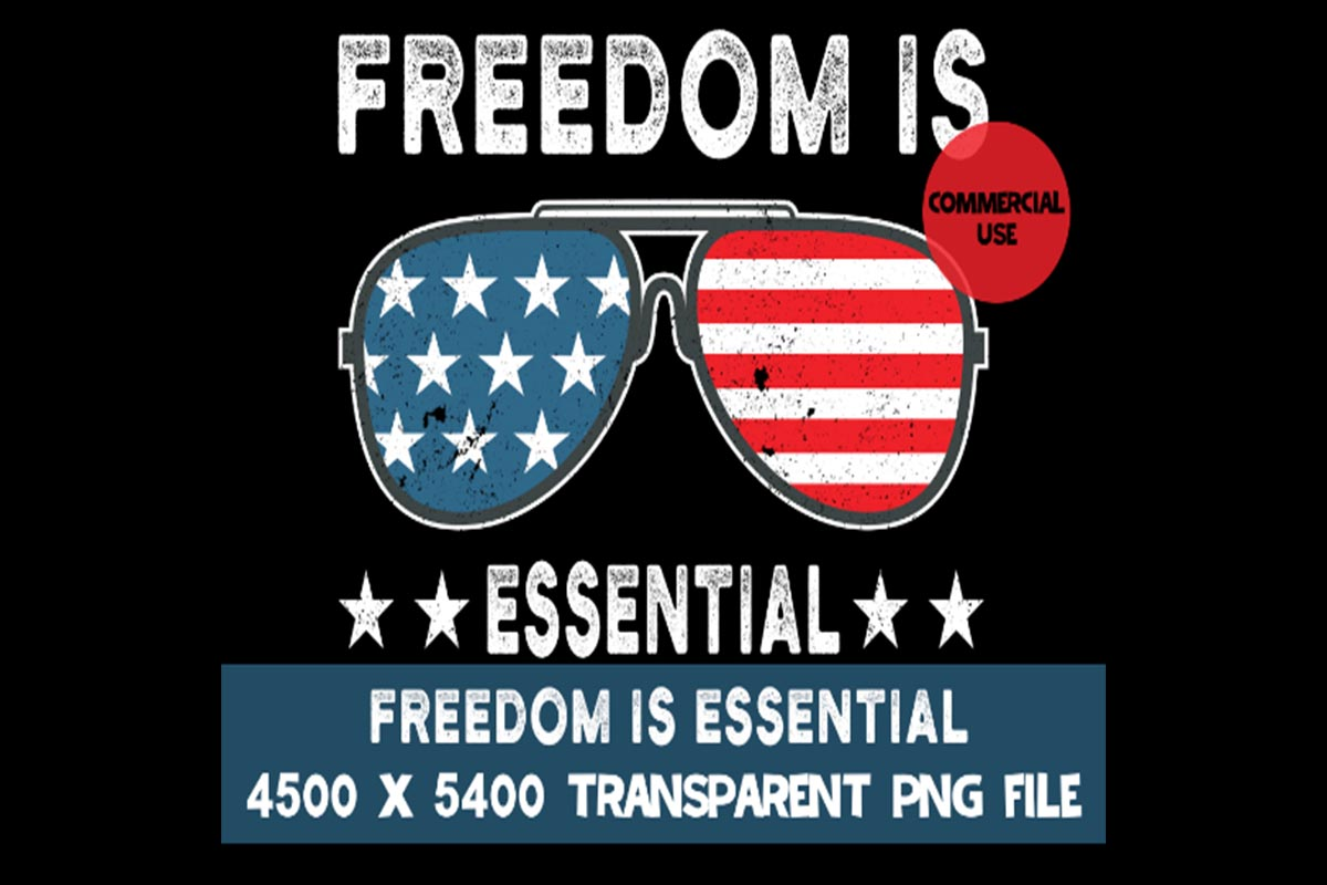 Download Free Freedom Is Essential Usa Flag Sunglasses Graphic By Sunandmoon for Cricut Explore, Silhouette and other cutting machines.