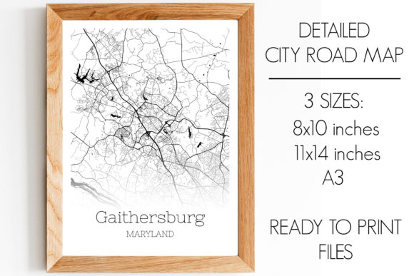 Print on Demand: Gaithersburg Maryland City Map Graphic Photos By SVGExpress