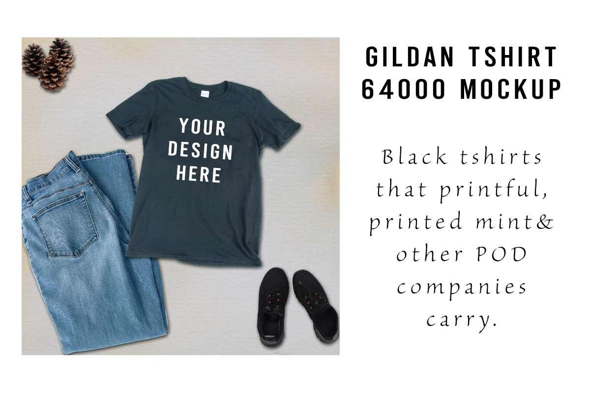 Download Free Gildan Tshirt 64000 Black Tshirt Mockup Graphic By A Design In for Cricut Explore, Silhouette and other cutting machines.