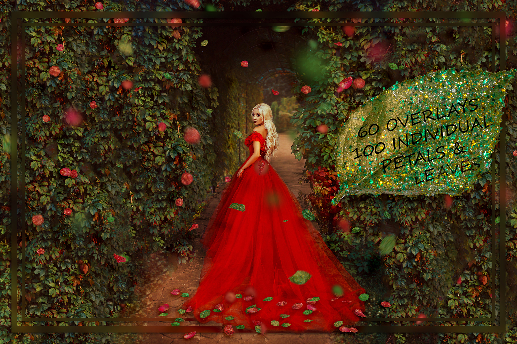 Glitter Red Petals Leaves Overlays Graphic By Faerydesign