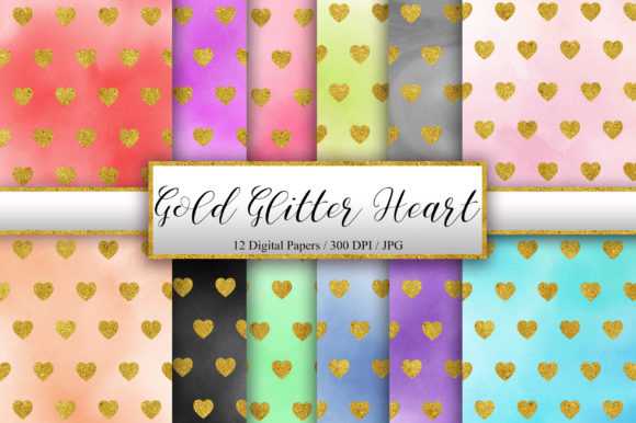Gold Glitter Heart Watercolor Background Graphic Backgrounds By PinkPearly