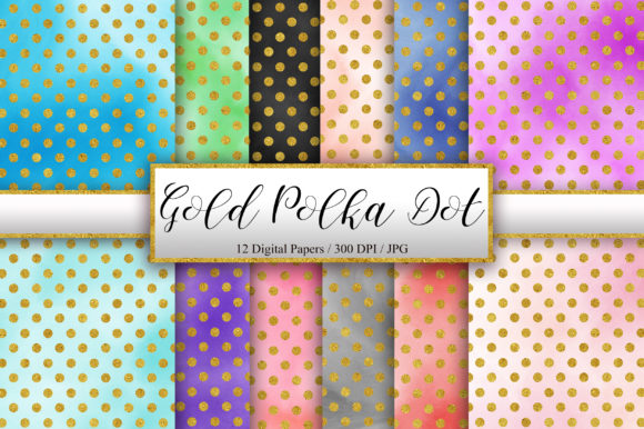Gold Polka Dot Watercolor Background Graphic Backgrounds By PinkPearly