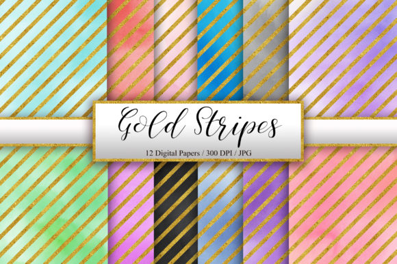 Gold Stripes Watercolor Background Graphic Backgrounds By PinkPearly