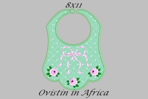 Green Cute Adorable Baby Bib with Roses Large Nursery Embroidery Design By Ovistin in Africa