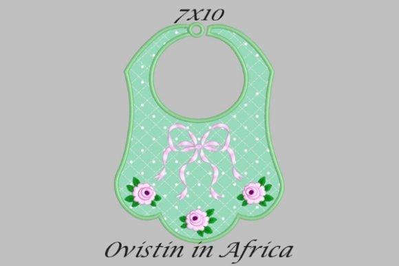 Green Cute Adorable Baby Bib with Roses Small Nursery Embroidery Design By Ovistin in Africa