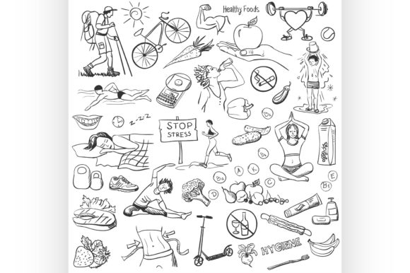 Hand Drawn About Healthy Lifestyle Graphic Illustrations By netkov1