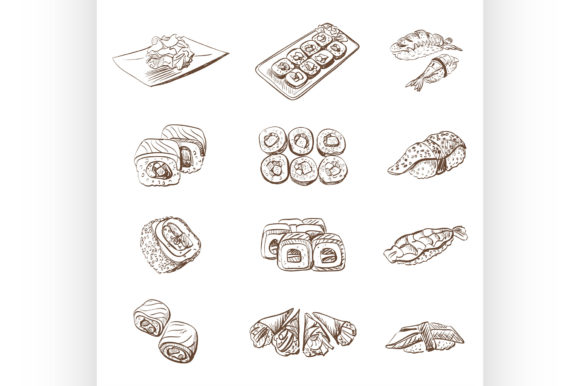 Download Free Hand Drawn Set With Sushi Rolls Sashimi Graphic By Netkov1 for Cricut Explore, Silhouette and other cutting machines.