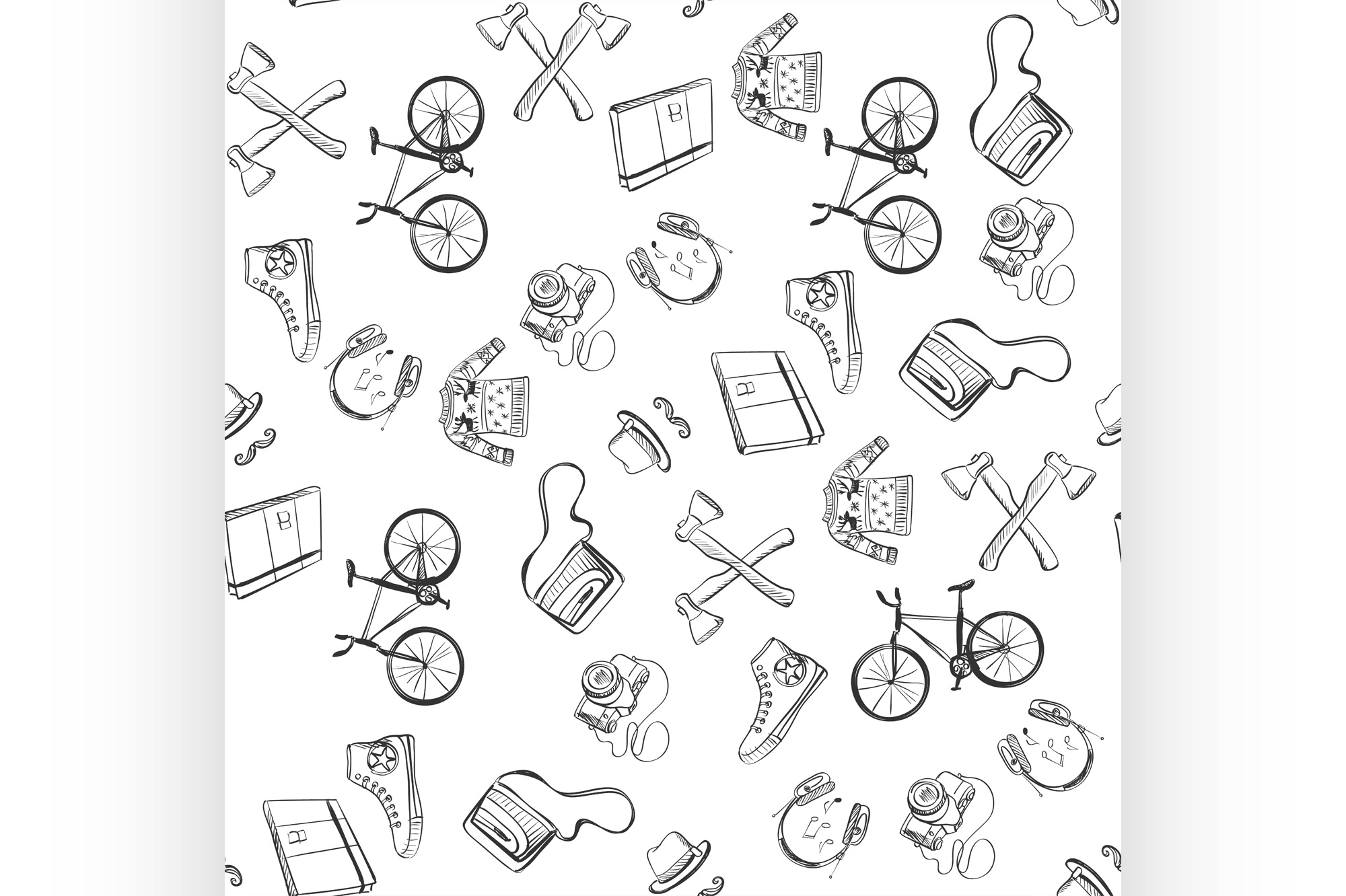 Download Free Hand Drawn Hipster Style Pattern Graphic By Netkov1 Creative for Cricut Explore, Silhouette and other cutting machines.