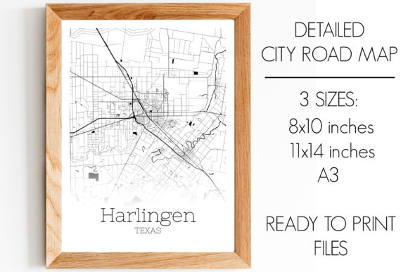 Print on Demand: Harlingen Texas City Map Graphic Photos By SVGExpress