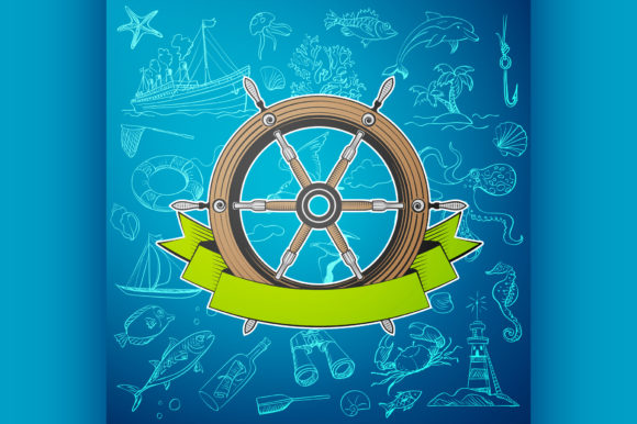 Download Free Helm Boat With Hand Drawn Elements Graphic By Netkov1 Creative for Cricut Explore, Silhouette and other cutting machines.
