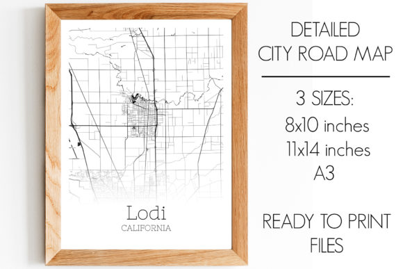 Print on Demand: Lodi California City Map Graphic Photos By SVGExpress - Image 1