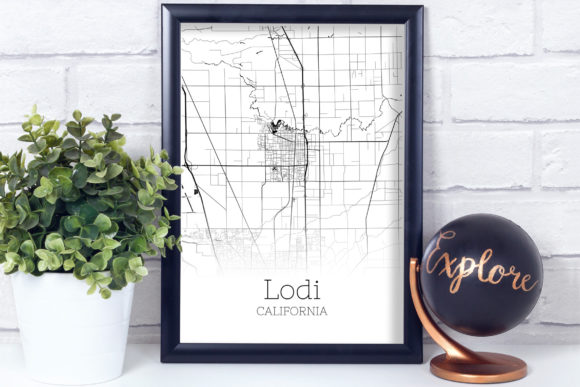 Print on Demand: Lodi California City Map Graphic Photos By SVGExpress - Image 3