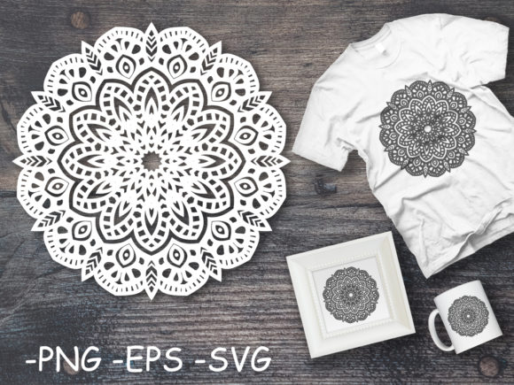 Download Free Mandala Art Decoration Elements Graphic By Azrielmch Creative for Cricut Explore, Silhouette and other cutting machines.
