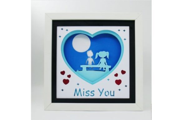 Miss You 3D Paper Cut Light Box Template Graphic 3D SVG By Kiyoni