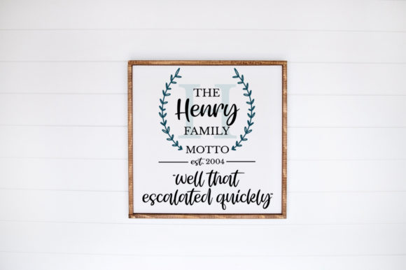 Print on Demand: Monogram Family Sign - Family Motto Graphic Crafts By Simply Cut Co