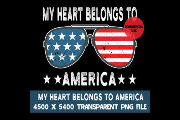 Print on Demand: My Heart Belongs to America USA Flag Graphic Logos By SunandMoon