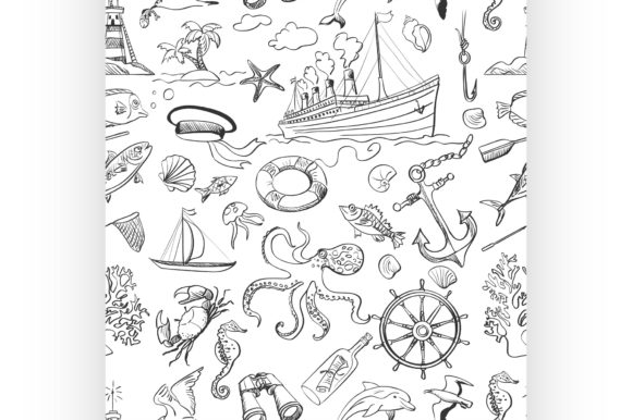 Download Free Nautical Or Marine Themed Seamless Graphic By Netkov1 Creative for Cricut Explore, Silhouette and other cutting machines.