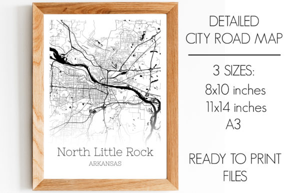 Print on Demand: North Little Rock Arkansas City Map Graphic Photos By SVGExpress
