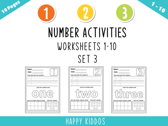 Number Activities: Worksheets 1-10 Set 3 Graphic K By Happy Kiddos