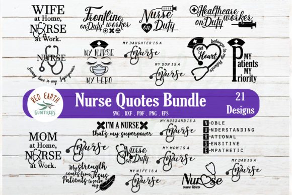 Nurse Quotes and Sayings Bundle Gráfico Crafts Por redearth and gumtrees