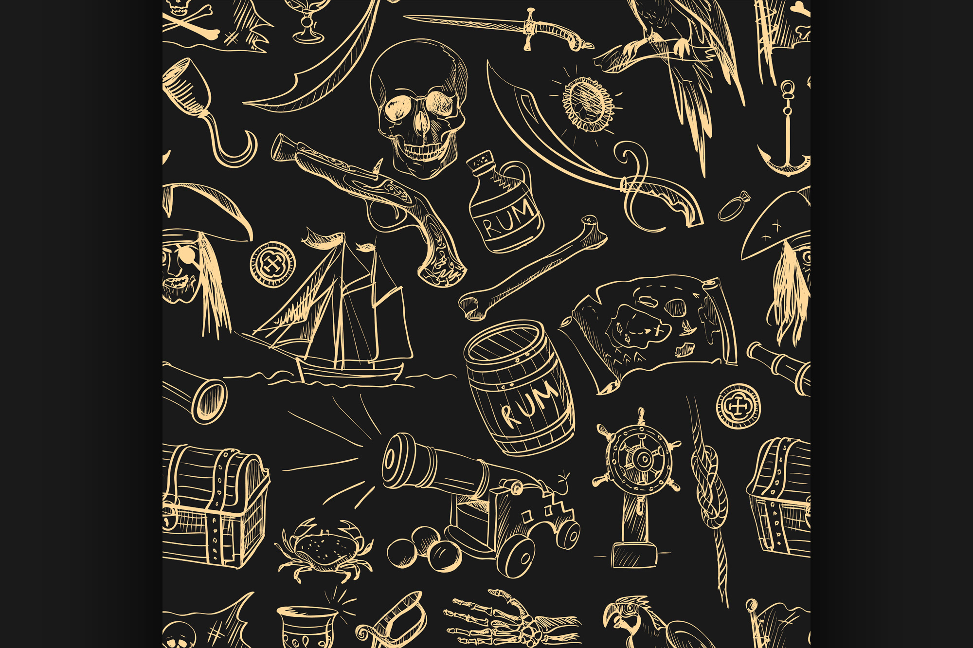 Download Free Pirates Pattern Hand Drawn Graphic By Netkov1 Creative Fabrica for Cricut Explore, Silhouette and other cutting machines.