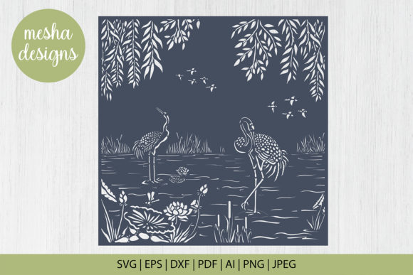 Print on Demand: Pond with Crane Paper Cut Template Graphic Crafts By DIYCUTTINGFILES