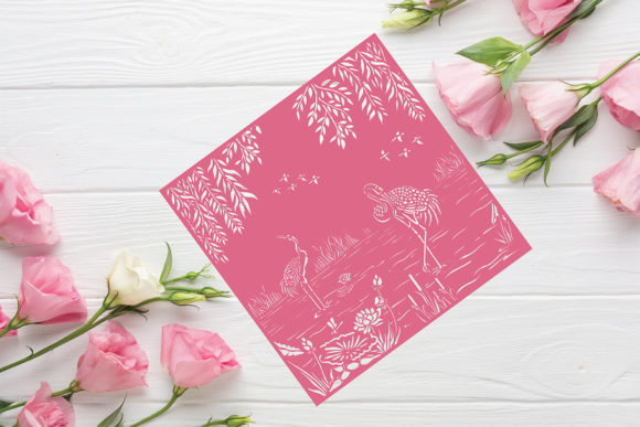 Download Free Pond With Crane Paper Cut Template Graphic By Diycuttingfiles Creative Fabrica for Cricut Explore, Silhouette and other cutting machines.
