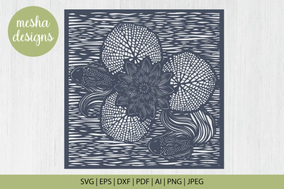 Download Free Pond With Lotus Paper Cut Template Graphic By Diycuttingfiles for Cricut Explore, Silhouette and other cutting machines.