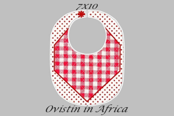 Red Gingham Adorable Baby Bib Small Nursery Embroidery Design By Ovistin in Africa - Image 1