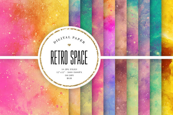 Retro Space Watercolor Backgrounds Graphic By Sabina Leja