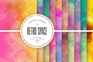 Print on Demand: Retro Space Watercolor Backgrounds Graphic Backgrounds By Sabina Leja