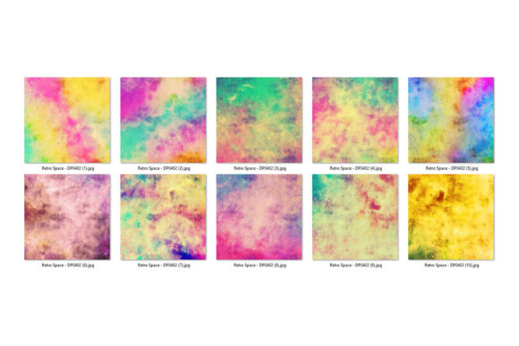 Print on Demand: Retro Space Watercolor Backgrounds Graphic Backgrounds By Sabina Leja - Image 2