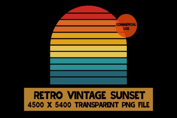 Print on Demand: Retro Vintage Sunset ClipArt 6 Color Graphic Logos By SunandMoon - Image 1