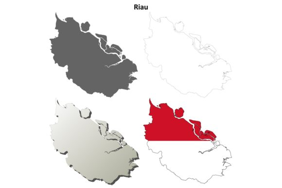 Download Free Riau Outline Map Set Graphic By Davidzydd Creative Fabrica for Cricut Explore, Silhouette and other cutting machines.