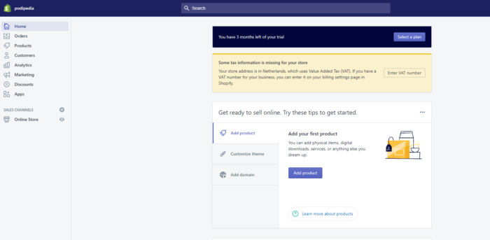 This is how the user dashboard looks like in Shopify.