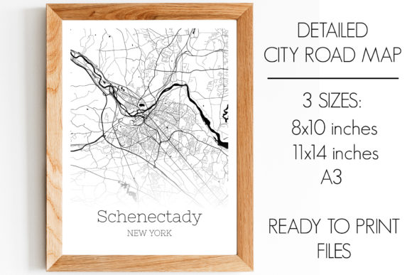 Print on Demand: Schenectady New York City Map Graphic Photos By SVGExpress