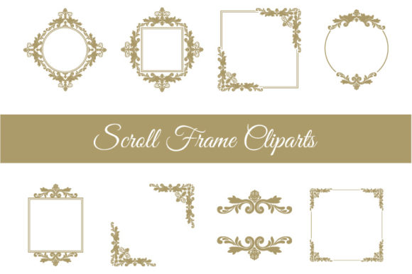 Download Free Scroll Frame Clipart Graphic By Biljanacvetanovic Creative Fabrica for Cricut Explore, Silhouette and other cutting machines.