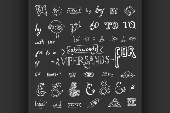 Set of Chalkboard Style Ampersands Graphic Illustrations By netkov1