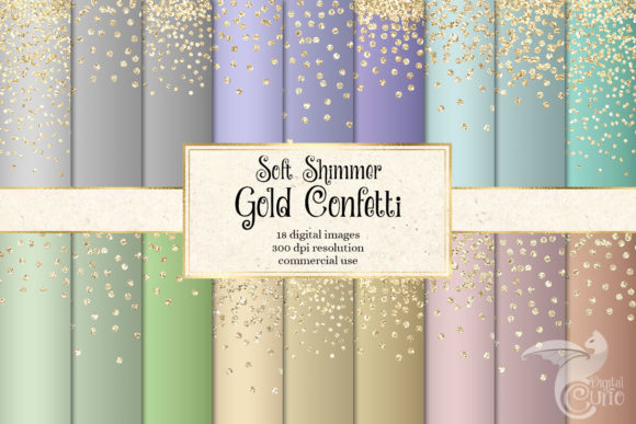 Print on Demand: Soft Shimmer Gold Confetti Digital Paper Graphic Textures By Digital Curio
