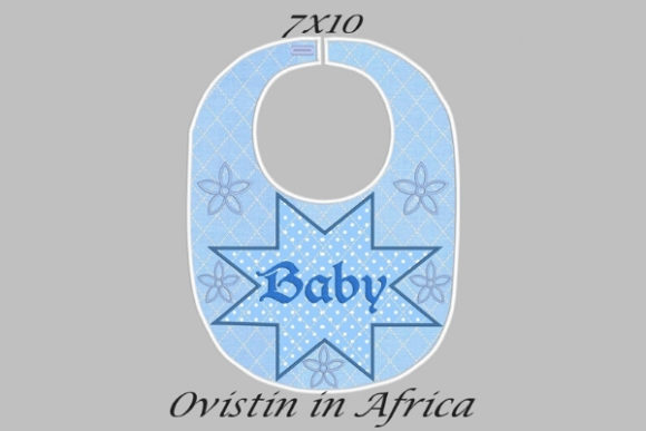 Star Flowers Adorable Baby Bib Small Nursery Embroidery Design By Ovistin in Africa - Image 1