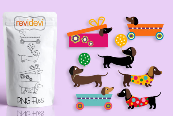 Print on Demand: Summer Dachshund Dogs Graphic Illustrations By Revidevi