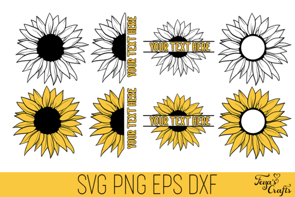 Download Free Sunflower Cut Files Pack Graphic By Anastasia Feya Creative for Cricut Explore, Silhouette and other cutting machines.