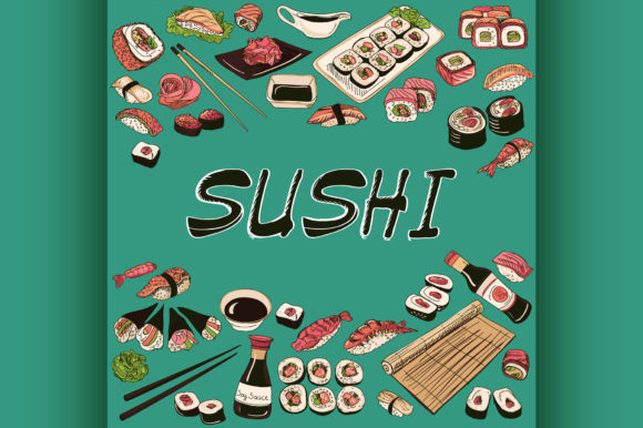 Download Free Sushi Vector Illustration Hand Drawn Graphic By Netkov1 for Cricut Explore, Silhouette and other cutting machines.
