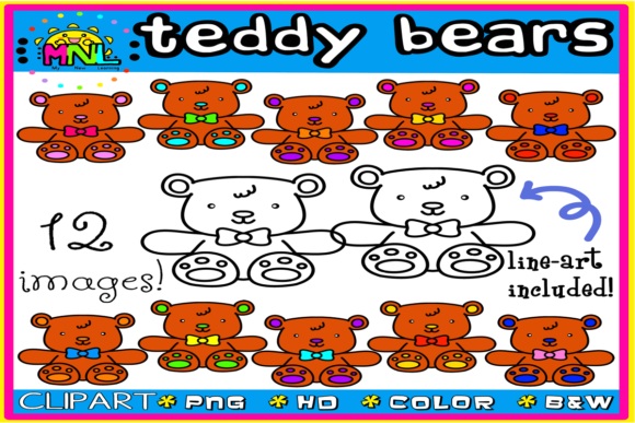 Teddy Bears Clip Art Set 1 | 12 Images Graphic Teaching Materials By Ziza Mariposa
