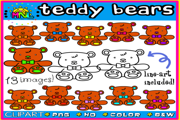 Teddy Bears Clip Art Set 2 | 13 Images Graphic Teaching Materials By Ziza Mariposa