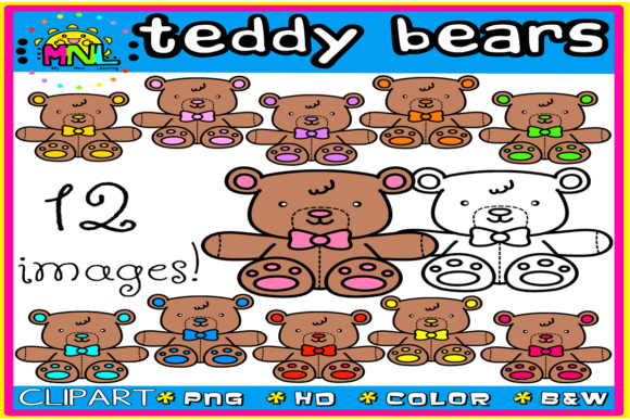 Teddy Bears Clip Art Set 3 | 12 Images Graphic Teaching Materials By Ziza Mariposa