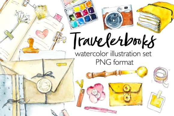 Travelbooks. Watercolor Clipart. Graphic Illustrations By Мария Кутузова