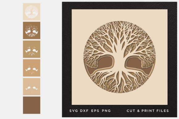 Tree of Life Cut File Gráfico SVG en 3D Por 2dooart
