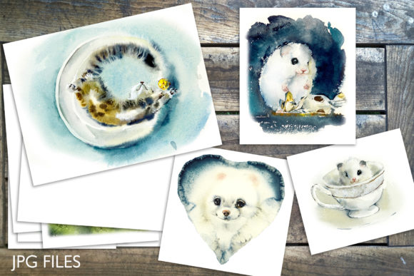 Watercolor Fluffy Pets Graphic Illustrations By Мария Кутузова - Image 2