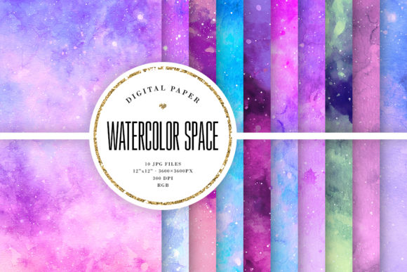 Print on Demand: Watercolor Galaxy Digital Paper Gráfico Fondos Por Sabina Leja